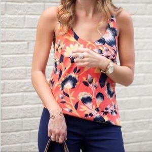 J. Crew twist tie back silk top hibiscus floral 12